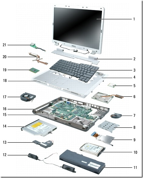 Dell Inspiron E1705/9400 Exploded View